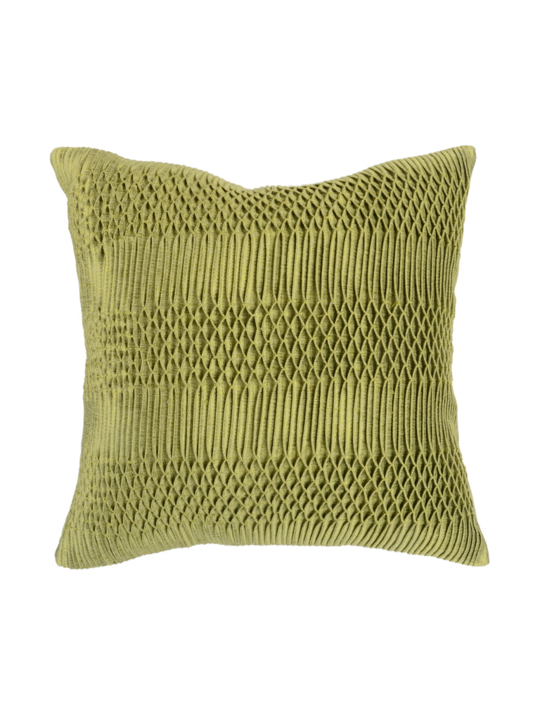 Smocking Work-Dupion Silk Cushion Cover(Green)