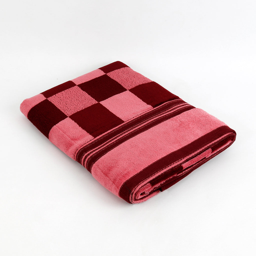 (Maroon) Checkered Cotton Bath Towel(27 X 54 Inch)