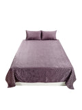 Self Design Velvet BedCover Set-(1 bedcover+ 2 Pillow Covers)(Purple)
