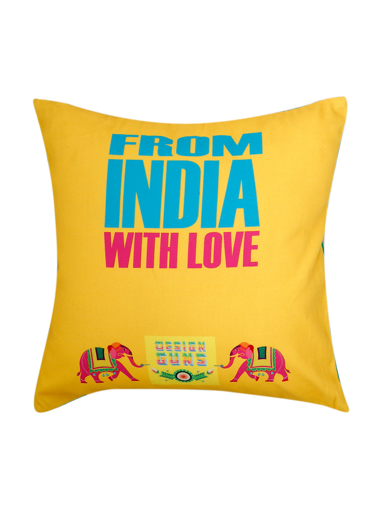 (Yellow/Green)Printed- Cotton Cushion Cover