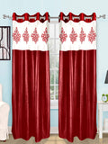 (Maroon) Curtain Damask Design- Polyester(9 X 4 Feet)