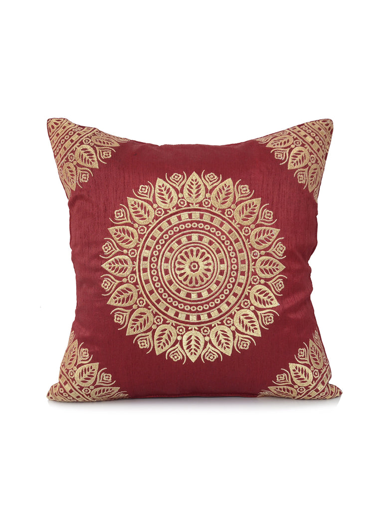 (Maroon/Gold)Embroidery- Dupion Silk Cushion Cover