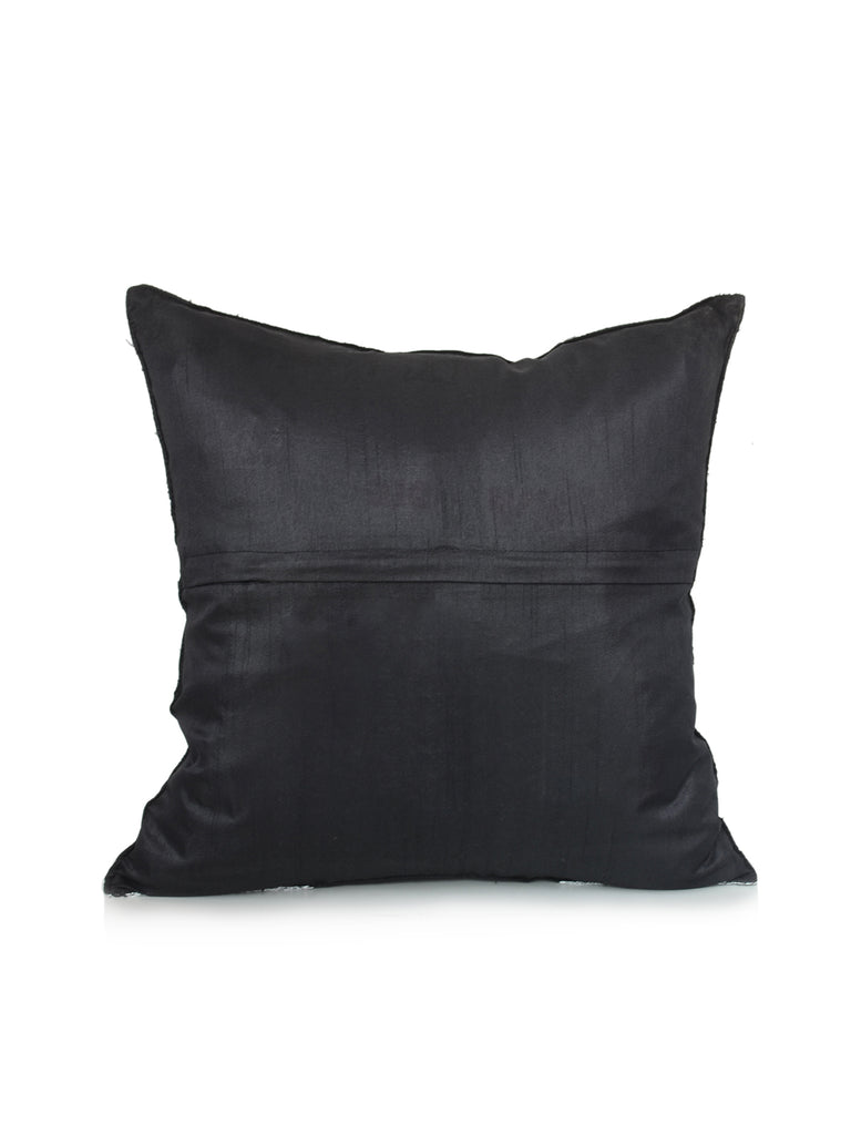 (Black)Zari Embroidery- Dupion Silk Cushion Cover