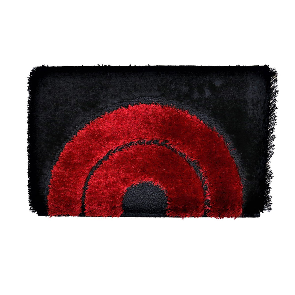 (Red/Black) Modern Polyester Fur Indoor Mat(40 X 60 Cm)
