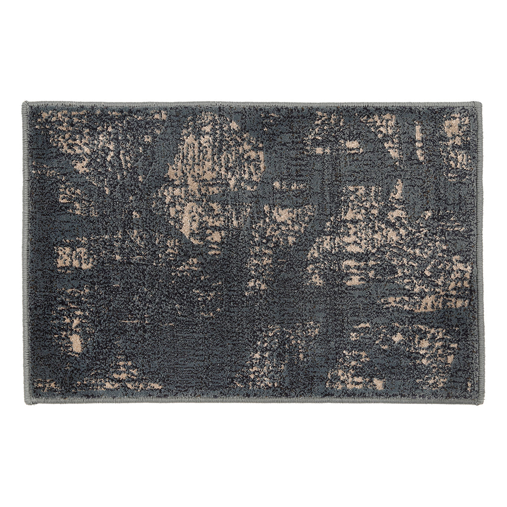 Carnation- (Navy Blue) Modern Synthetic Indoor Mat(40 X 60 Cm)