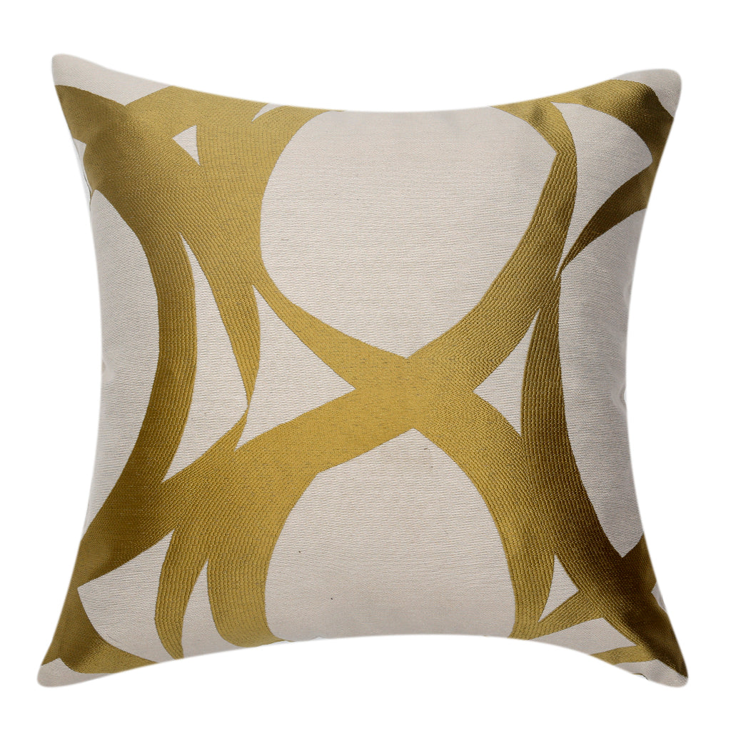 Jacquard Abstract Cushion Cover(Gold-White)