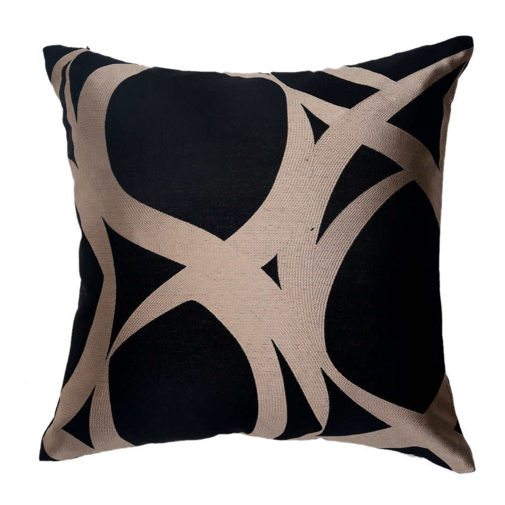 Jacquard Abstract Cushion Cover(Black-Gold)