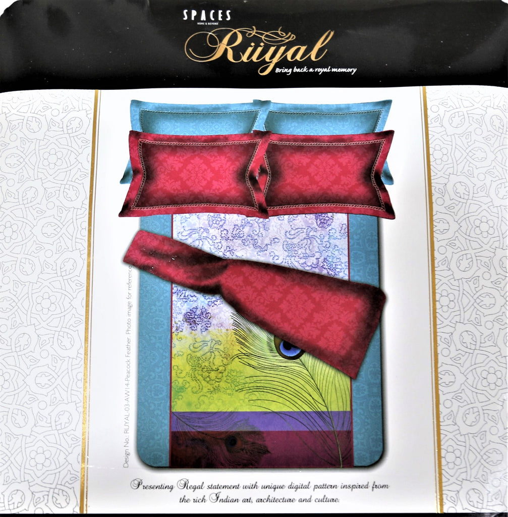 Spaces Riiyal Cotton Bedsheet(108 X 108 Inch) Set -(1 bedsheet+ 4 Pillow Covers)