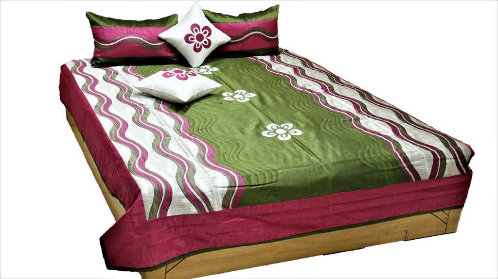 Patch Work PolySilk Quilted BedCover Set-(1 bedcover+ 2 Pillow Covers + 2 Cushion Covers)