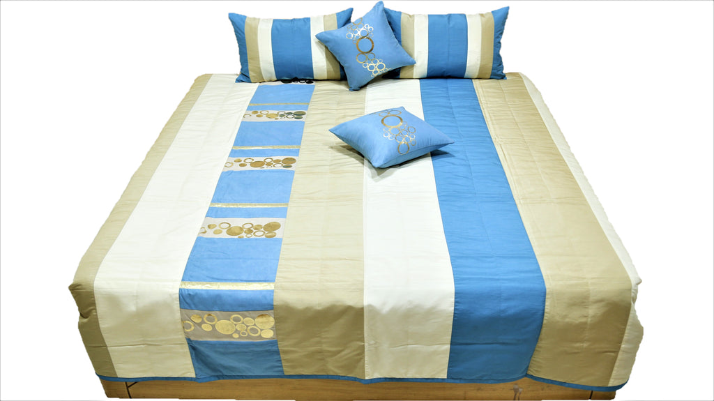 Foil Printed Suede Quilted BedCover Set-(1 bedcover+ 2 Pillow Covers + 2 Cushion Covers)
