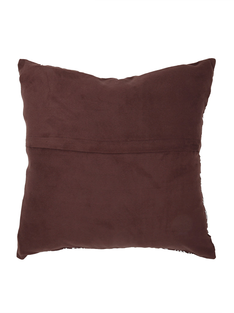 Foil Printed-Suede Cushion Cover(Brown)
