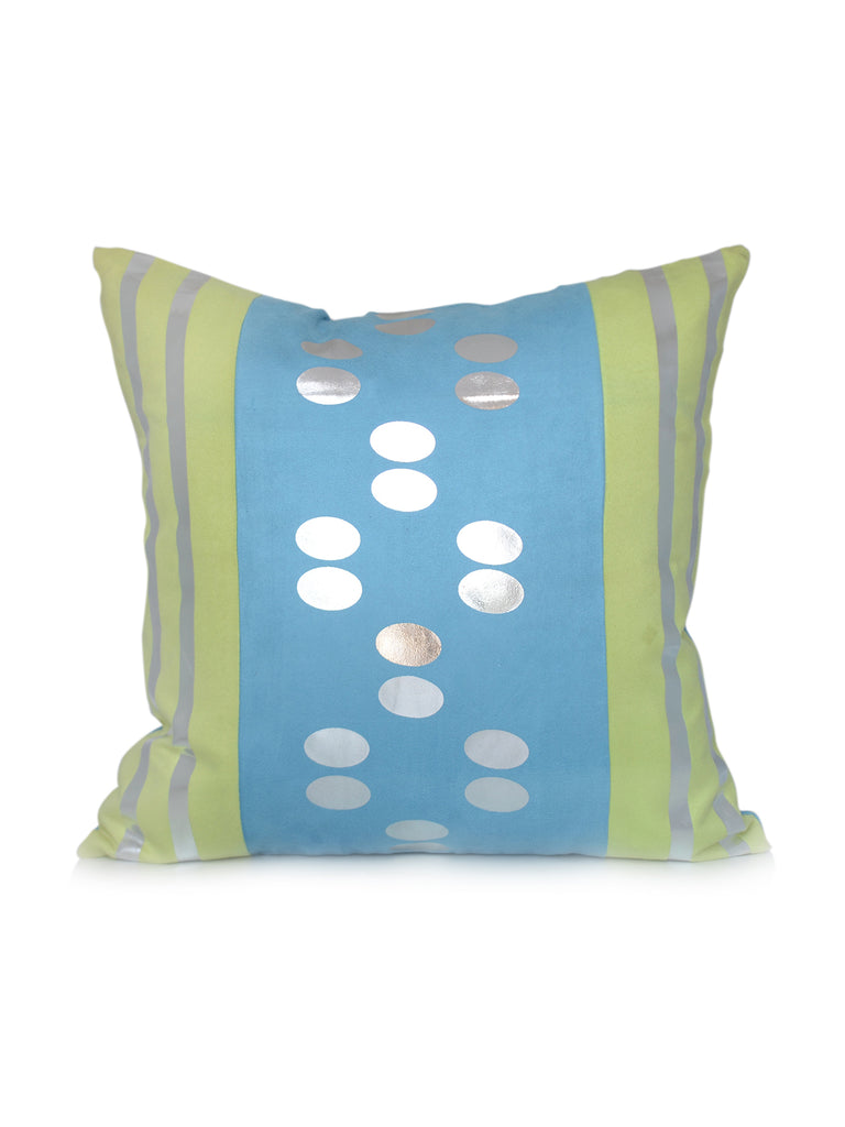 Foil printed-Suede Cushion Cover(Light blue)