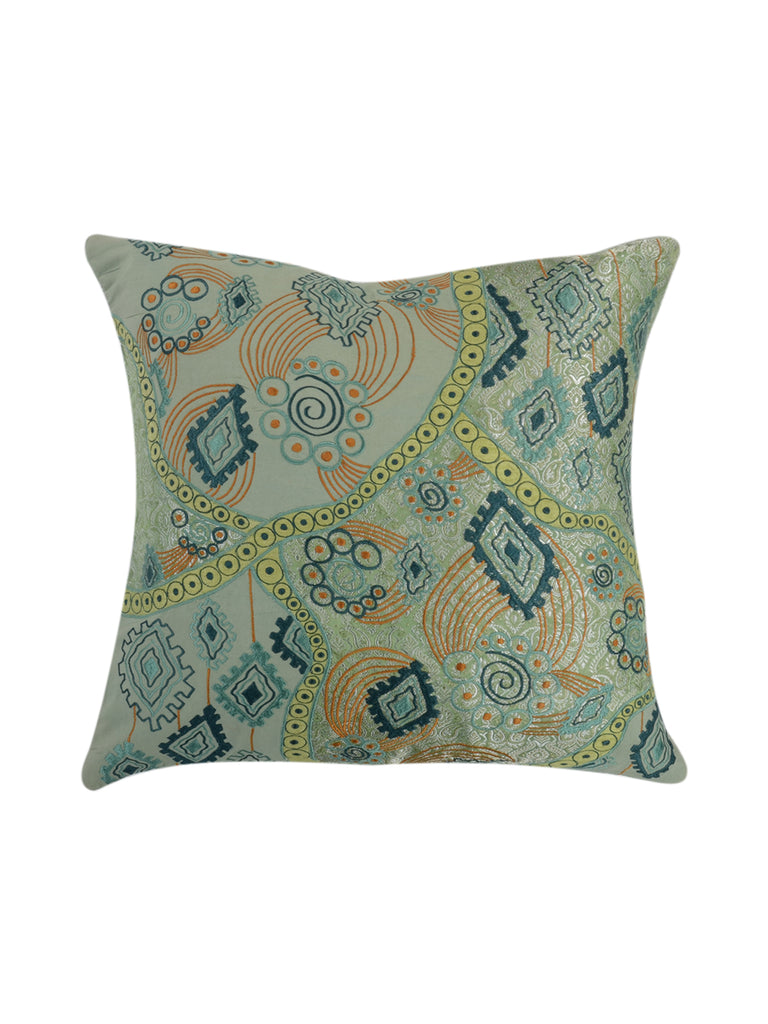 Embroidery-Blended Cushion Cover(Light Green)