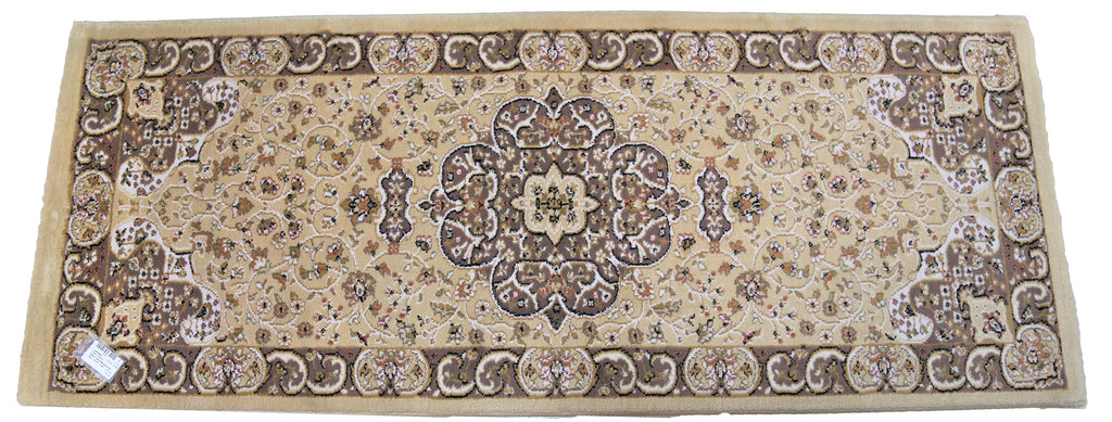 (Beige) Traditional Synthetic Bed Side Runner(57 X 140 Cm)