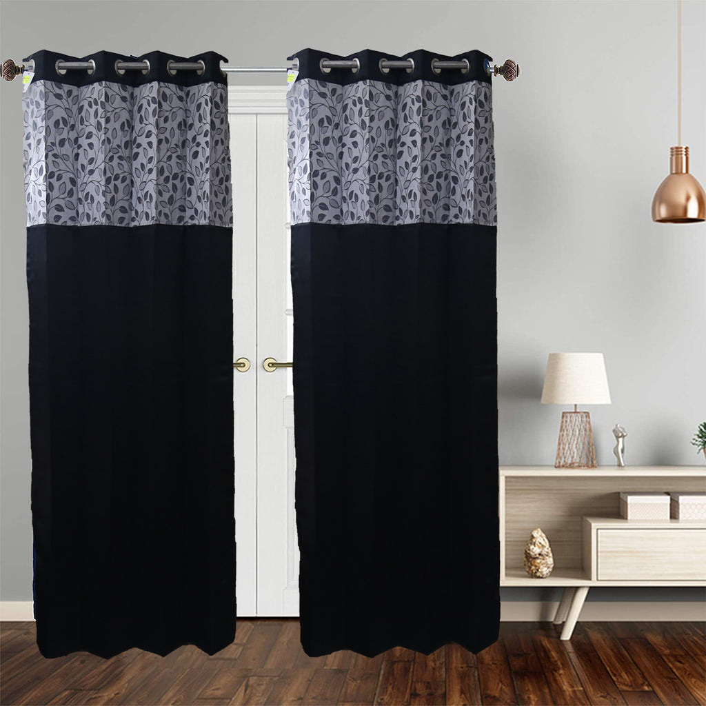 (Black) Curtain Self Design- Polyester(7 X 4 Feet)