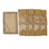 (Golden) Border Embroidery Table Mat-Dupion Silk(17 PCS Set)