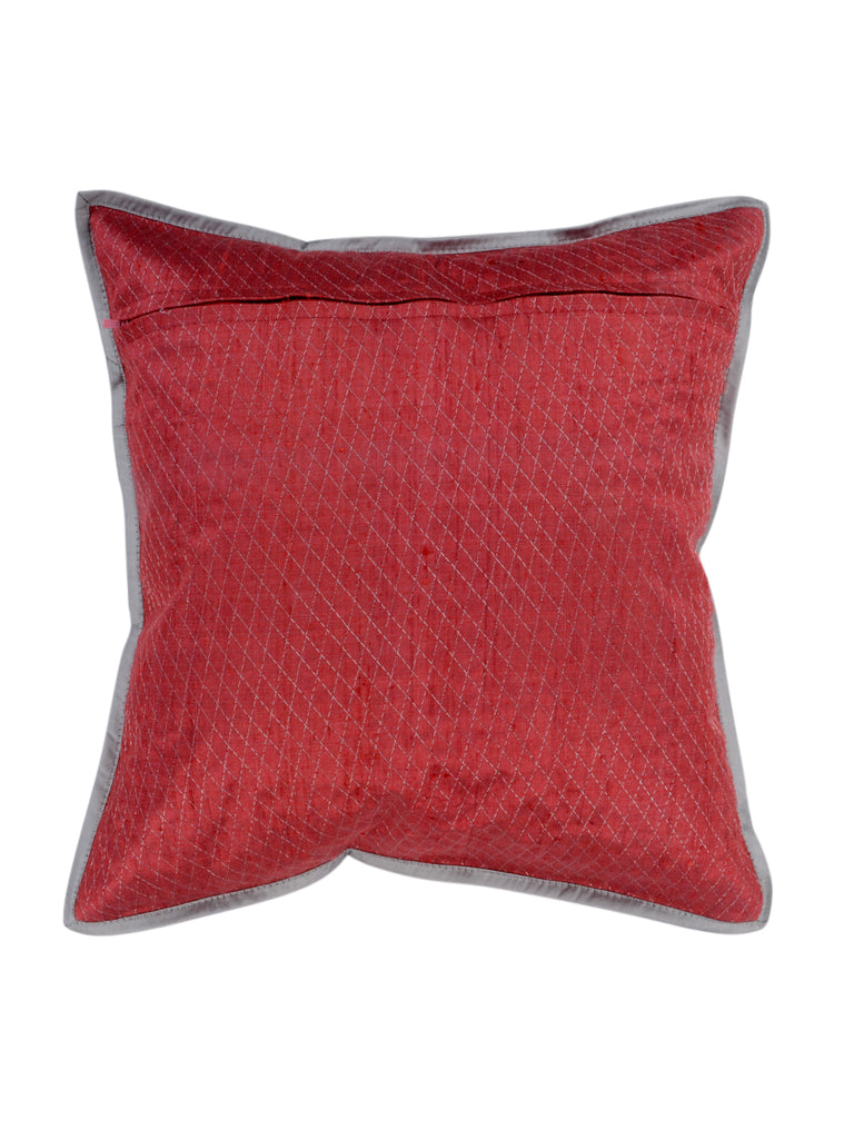 Sequence Work-Dupion Silk Cushion Cover(Pink)