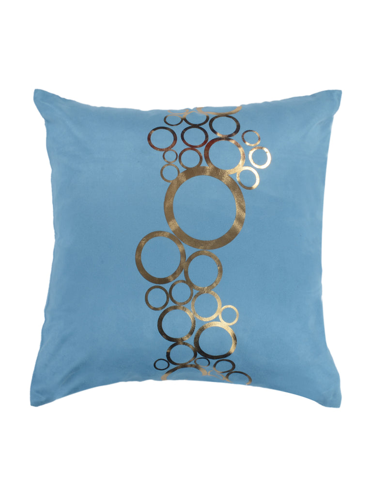 Suede polka Cushion Cover(Light blue)