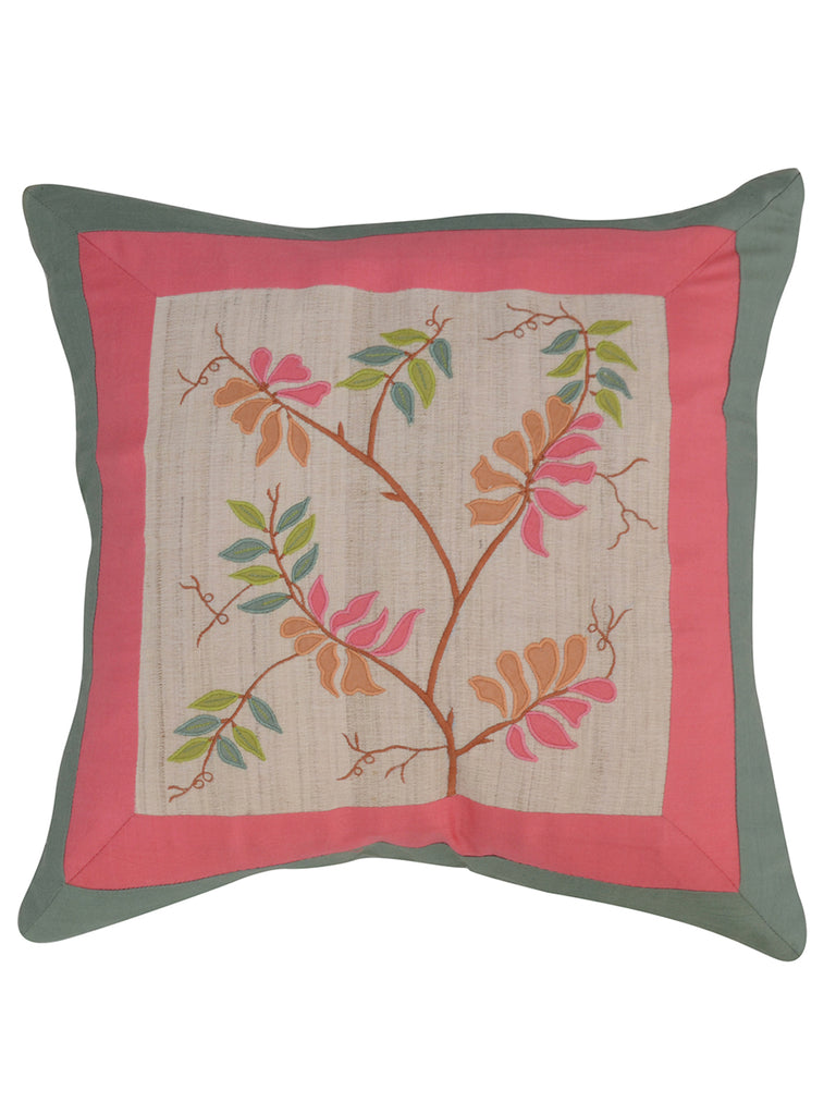 Multicolor Embroidery-Dupion Silk Cushion Cover
