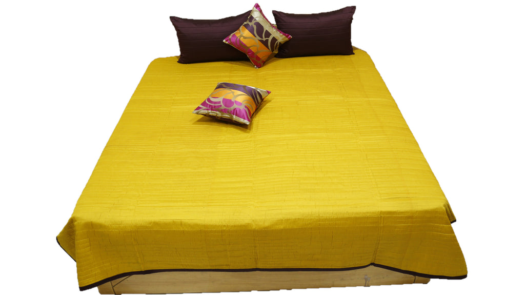 Reversible Semi Silk Quilted BedCover Set-(1 bedcover+ 2 Pillow Covers + 2 Cushion Covers)
