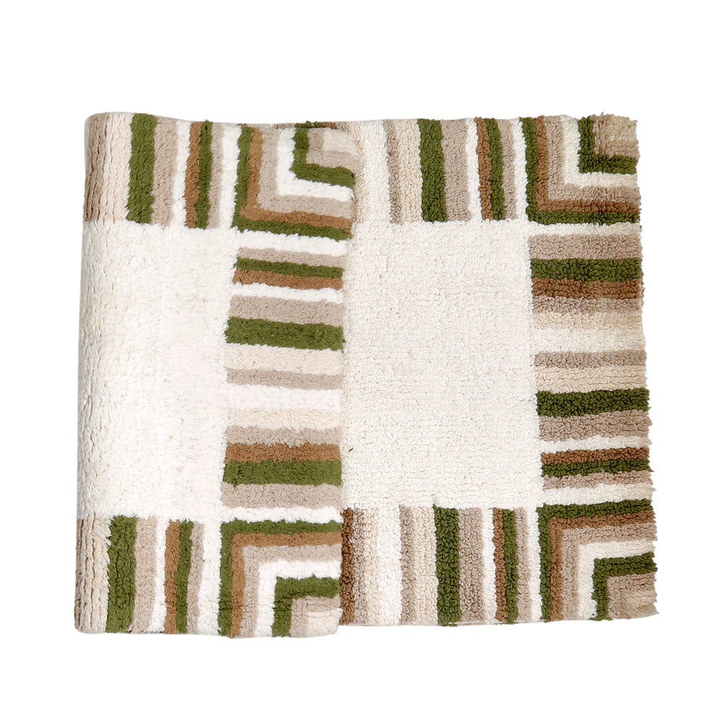(Multicolor) Border Striped Cotton Bath Door Mat(55 X 86 Cm )