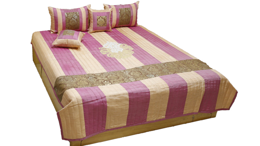 Motifs Patch Work PolySilk Quilted BedCover Set-(1 bedcover+ 2 Pillow Covers + 2 Cushion Covers)