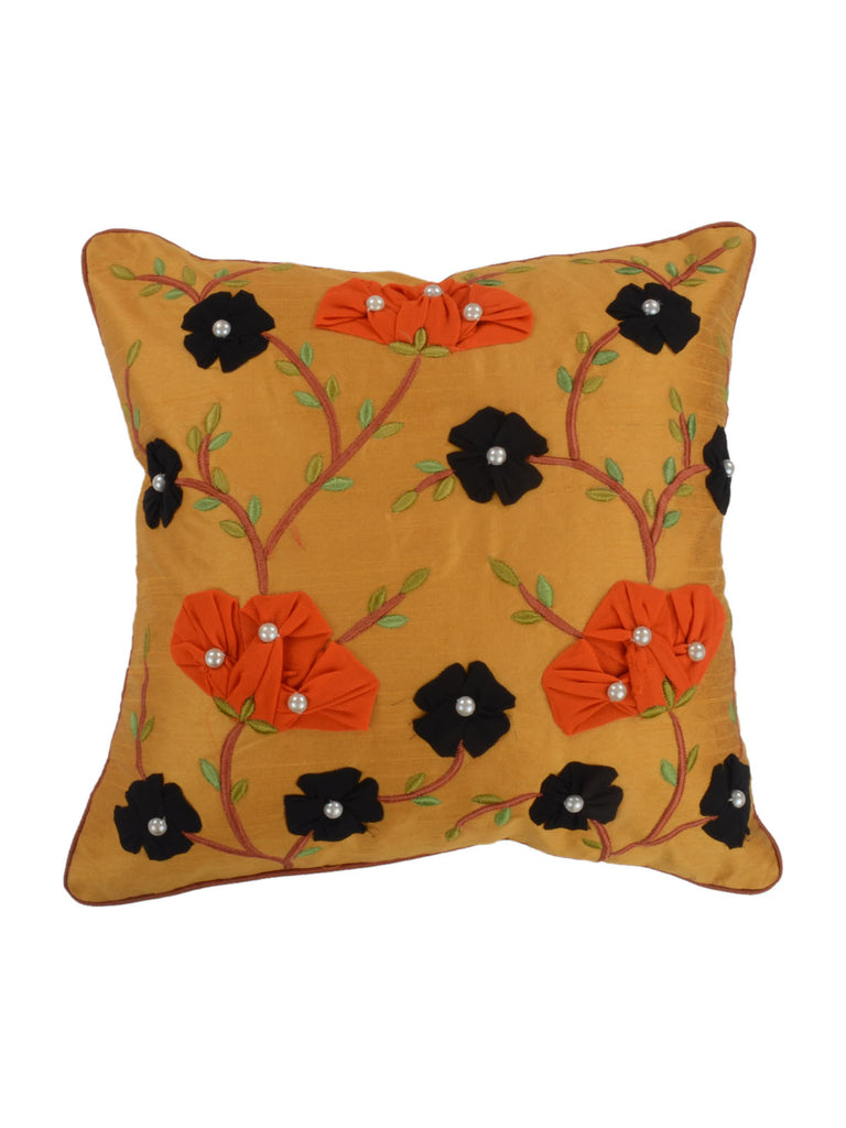 (Multicolor)Patch Work-Khadi Silk Cushion Cover