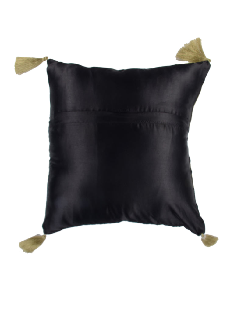 Hand Embroidered-Satin Cushion Cover(Black)