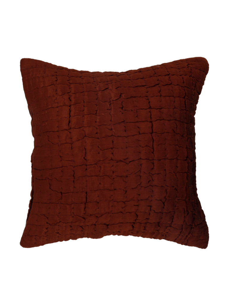 (Brown)Quilting- Velvet Cushion Cover