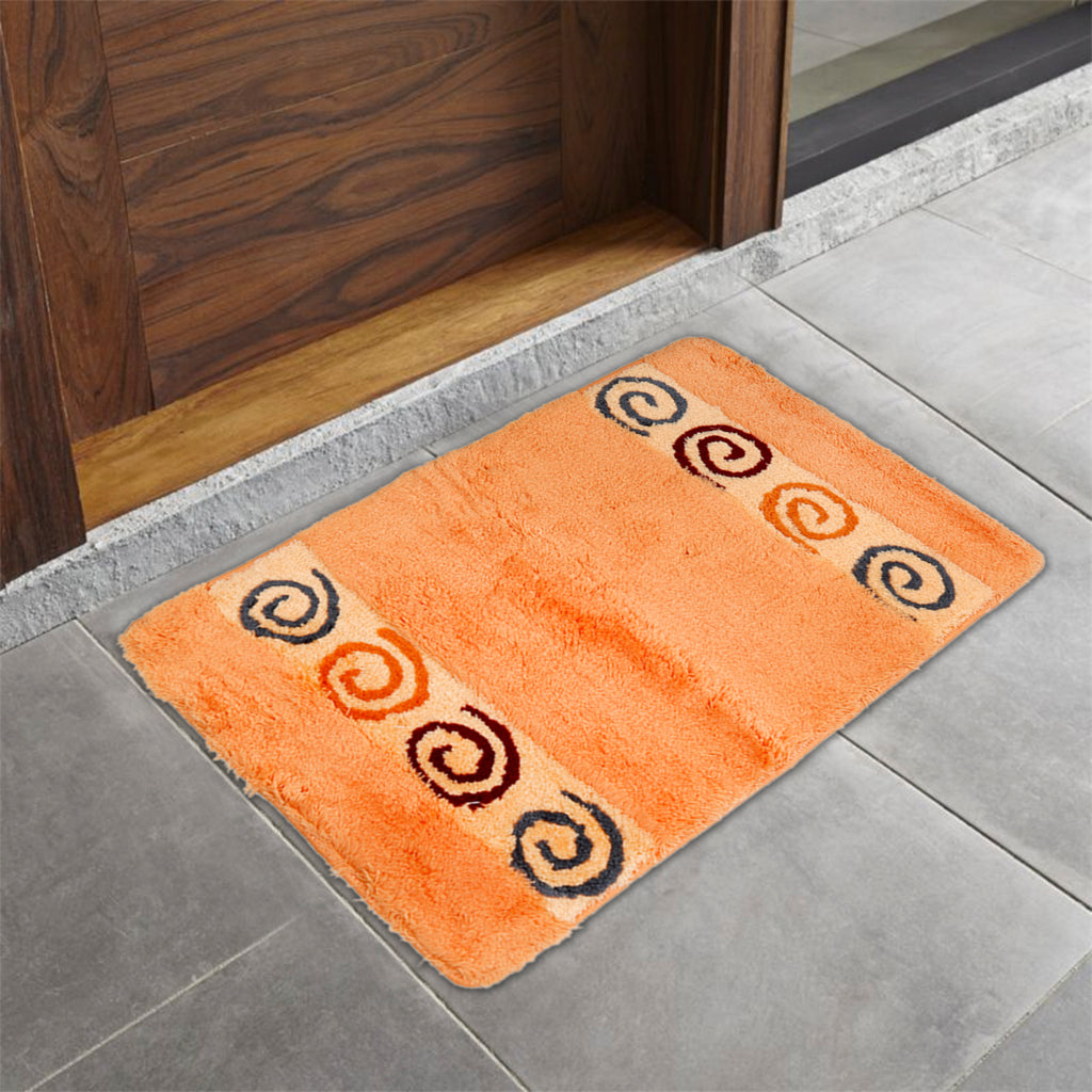 Polka shape Cotton Bath Door Mat(Peach)(50 X 75 Cm )