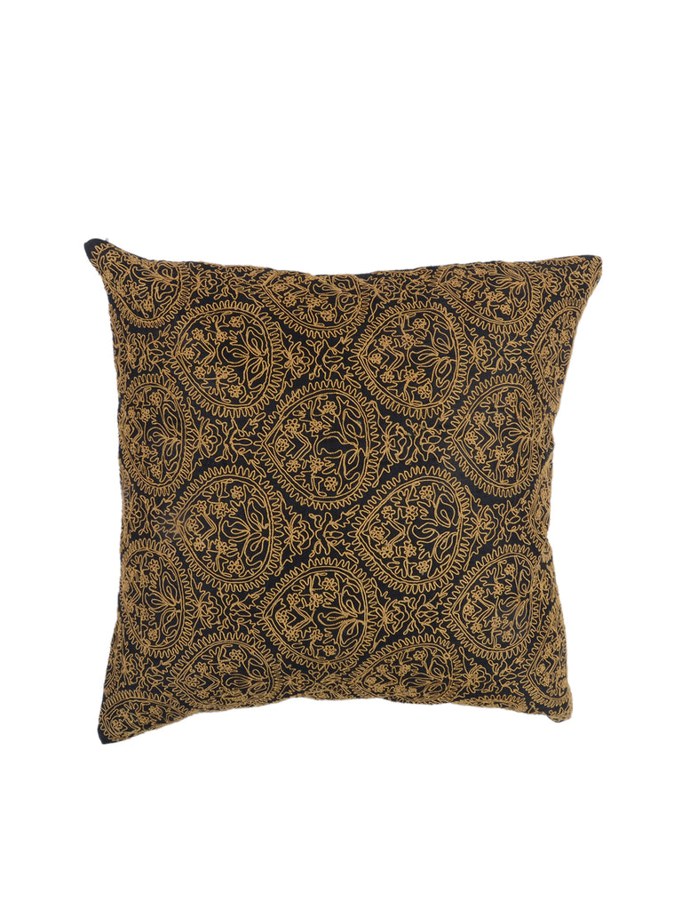 Embroidery-Khadi Silk Cushion Cover(Black)