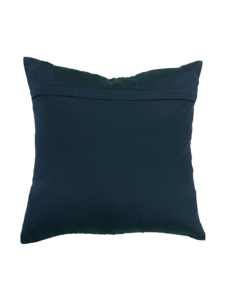 Embroidery-Art Silk Cushion Cover(Dark Blue)