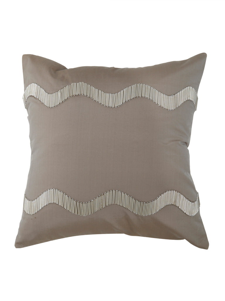 Hand Embroidery -Poly Silk Cushion Cover(Grey)