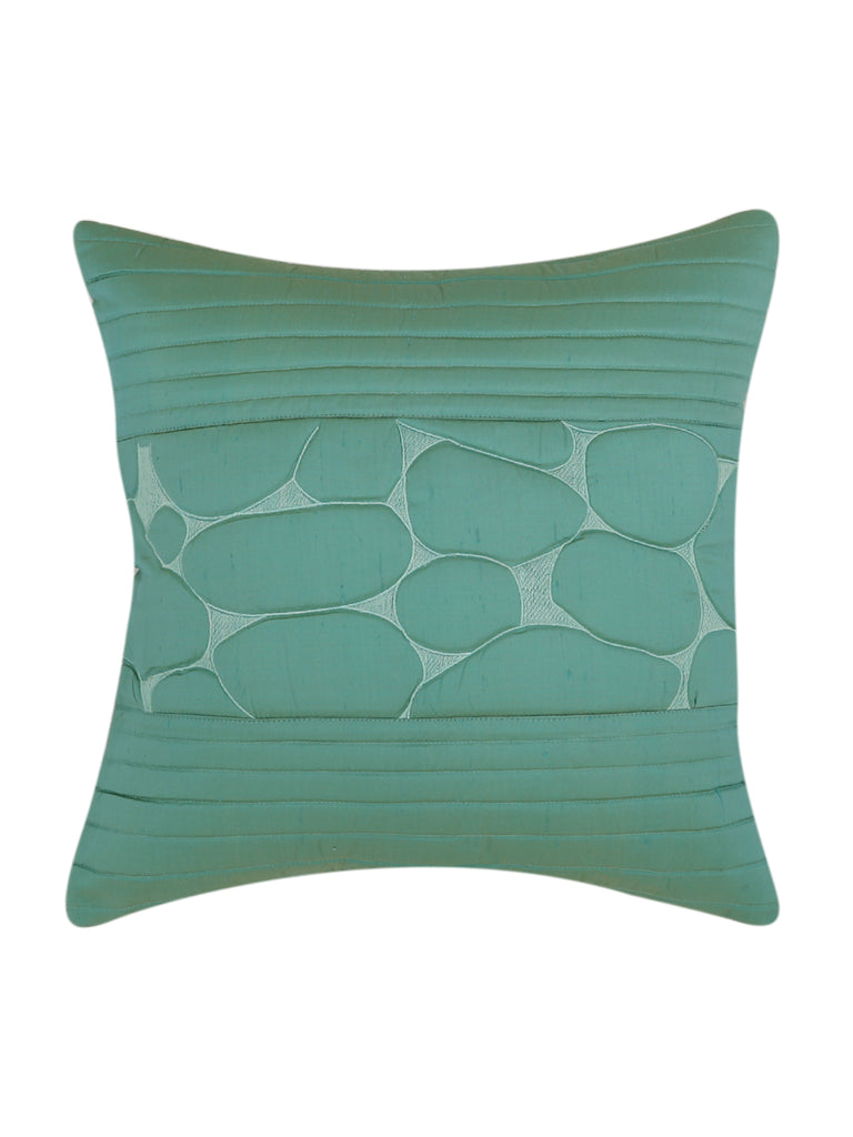 (Green)Quilting- Poly Silk Cushion Cover