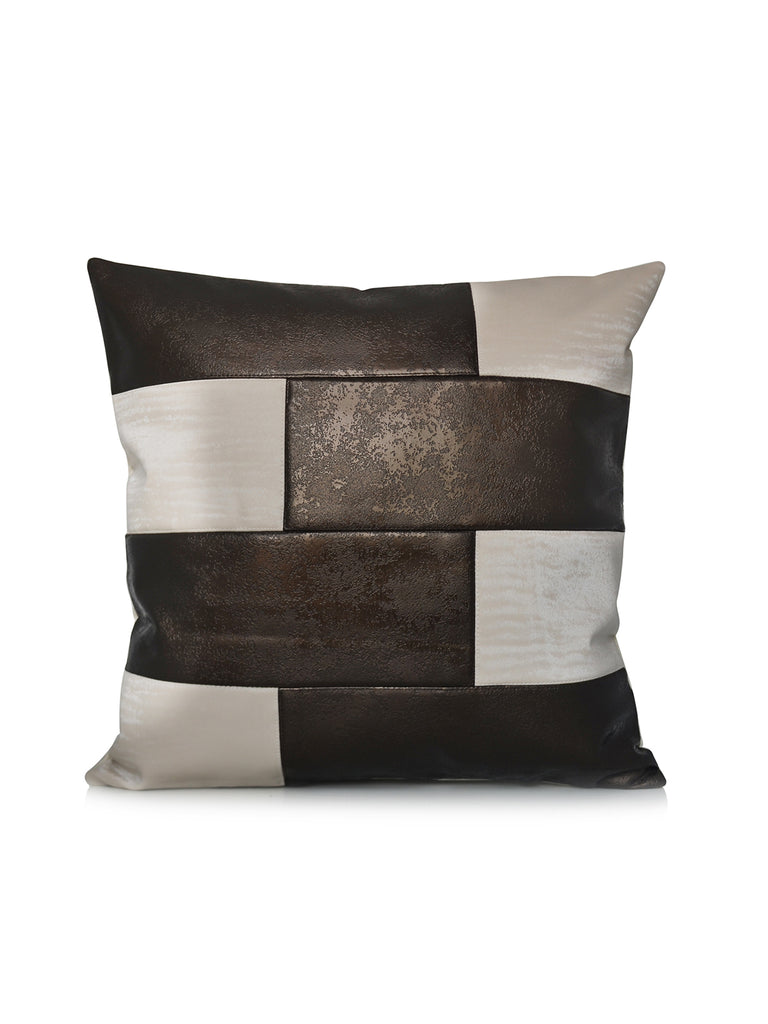 (Cream/Brown)Geometrical-Leather Cushion Cover