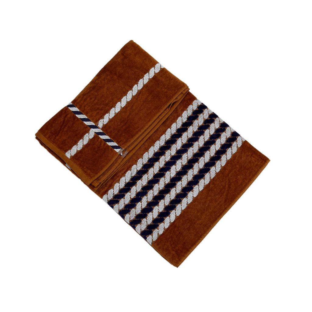 Striped Cotton Bath Towel(Brown)30x60 Inch