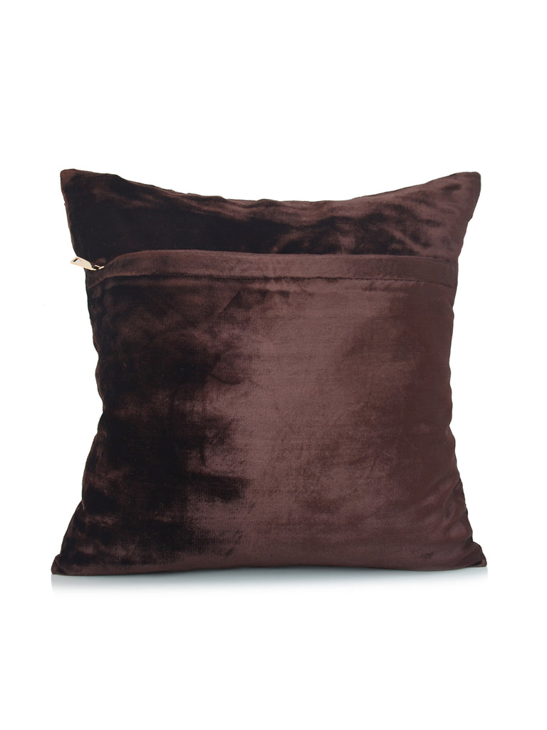 (Brown)Embroidery- Chenille Cushion Cover