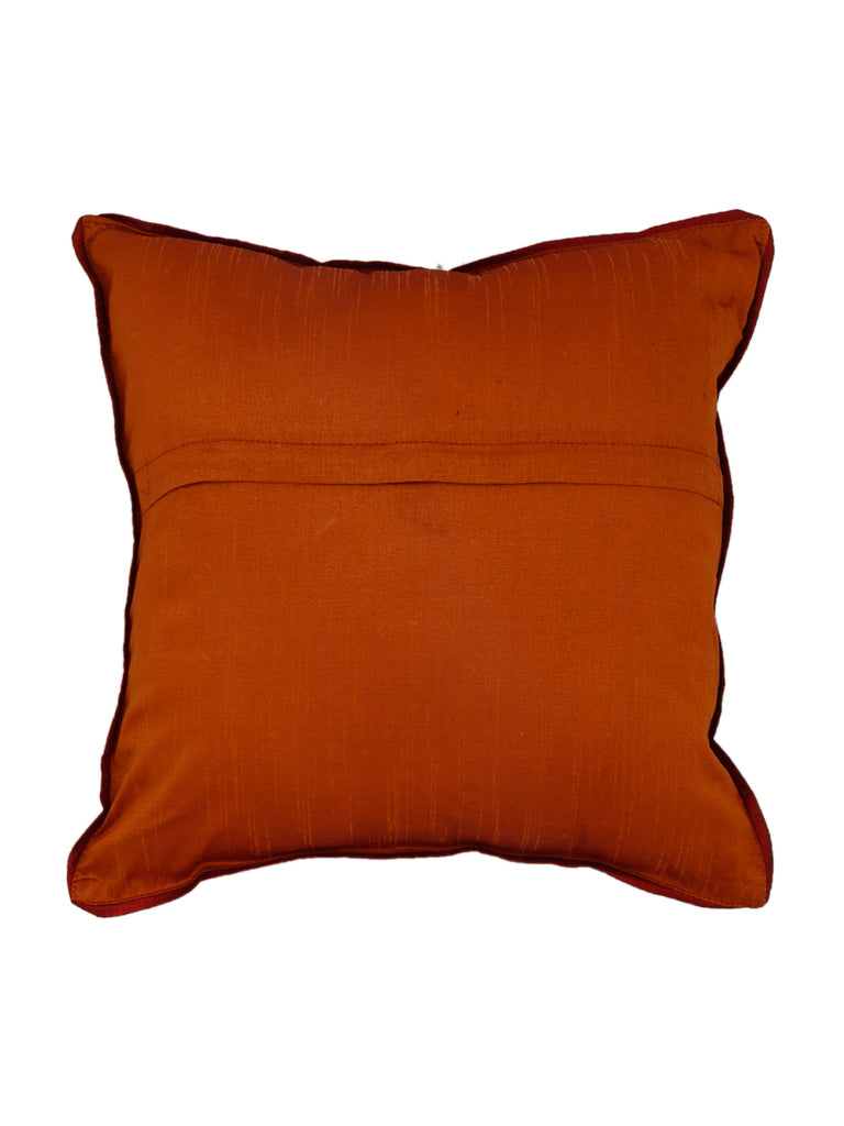 (Rust)Patch Work- Dupion Silk Cushion Cover