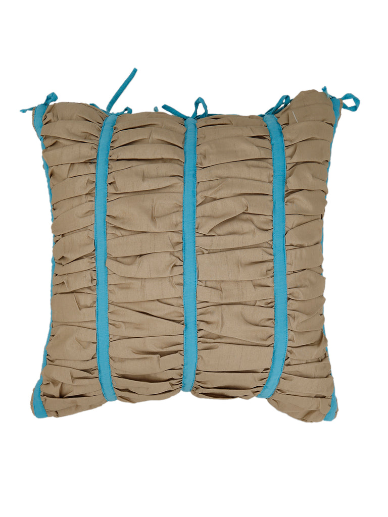 Self Design Faux Silk Cushion Cover(Beige with Blue Strips)