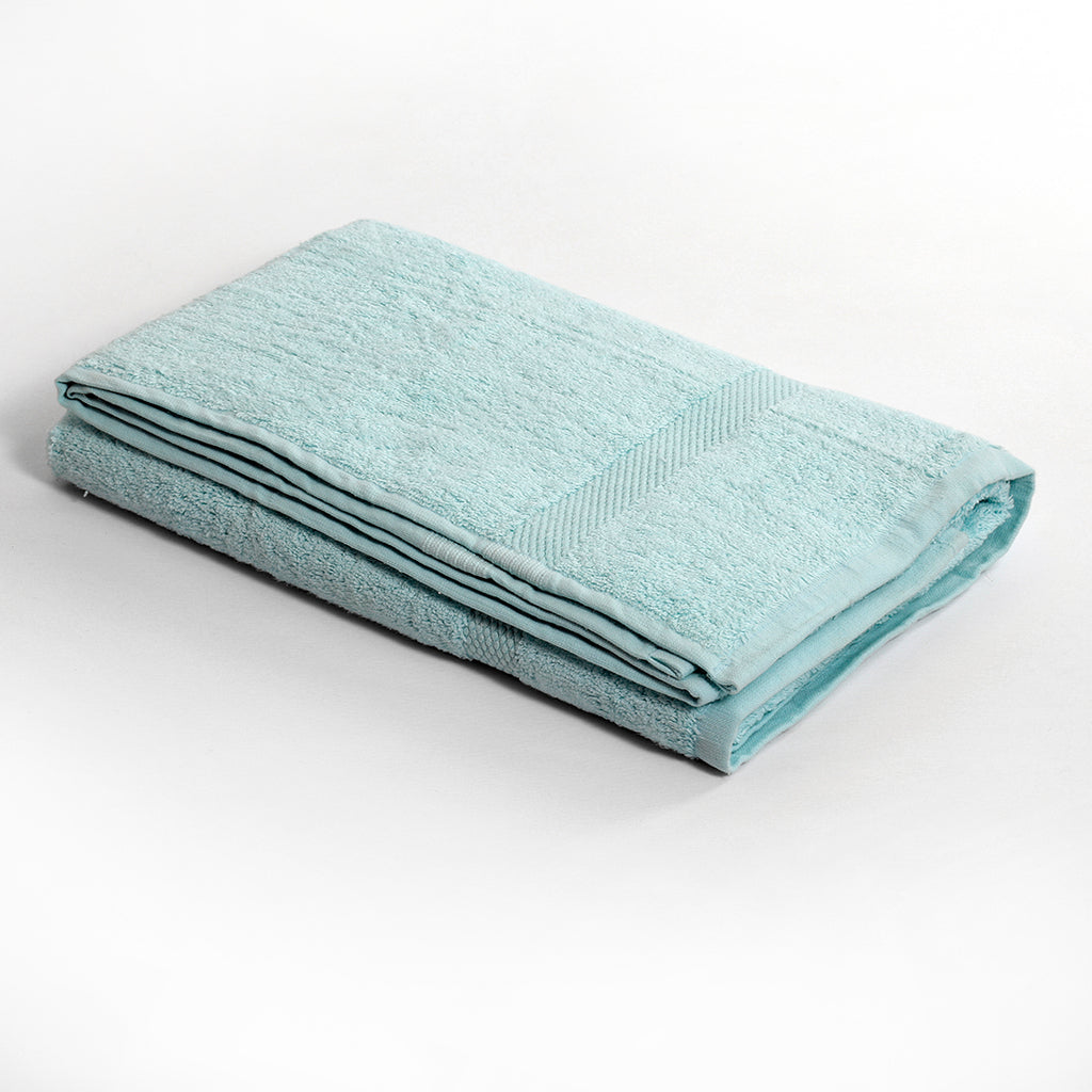 Plain Light Blue Cotton Bath Towel