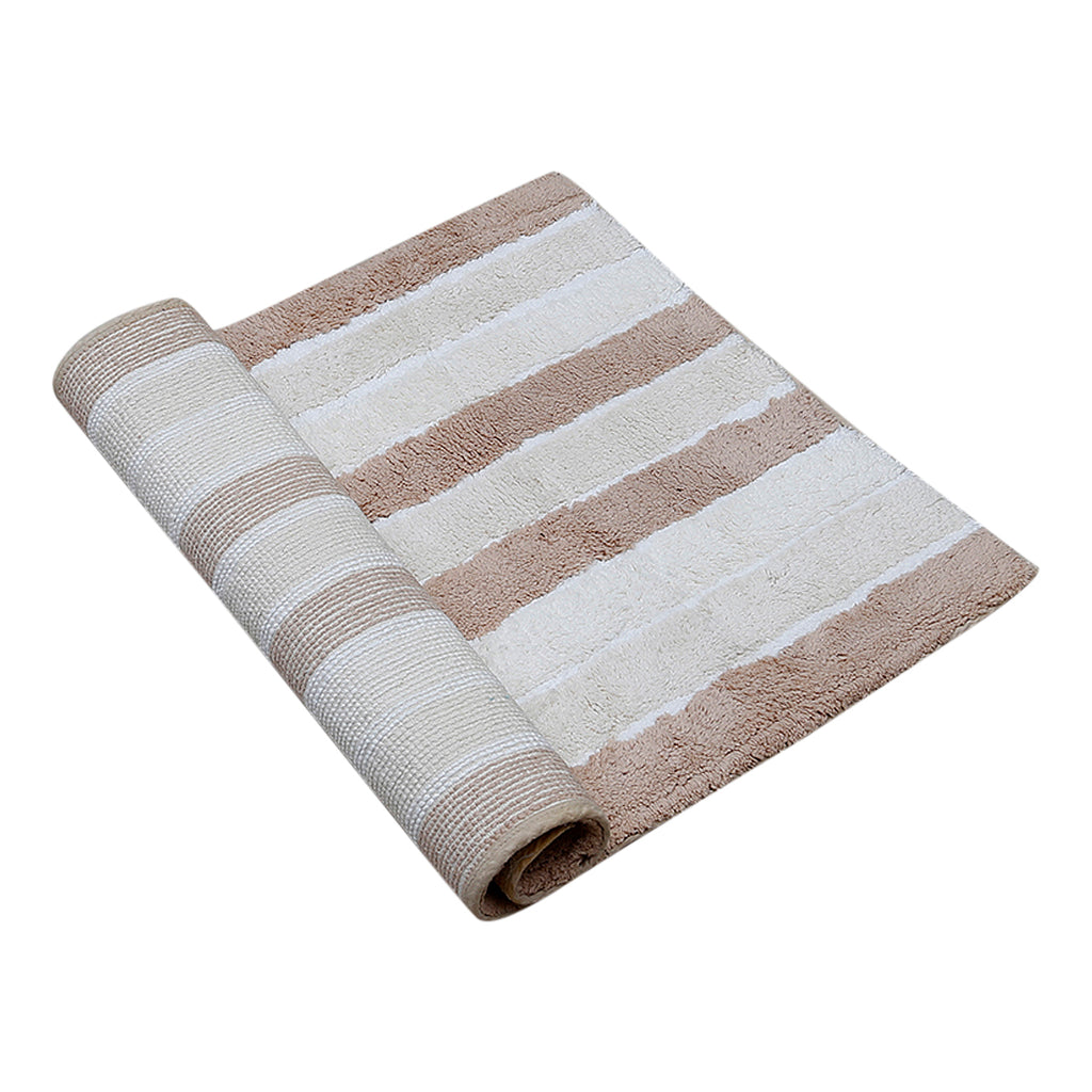 (Brown) Striped Cotton Bath Door Mat(50 X 76 Cm )