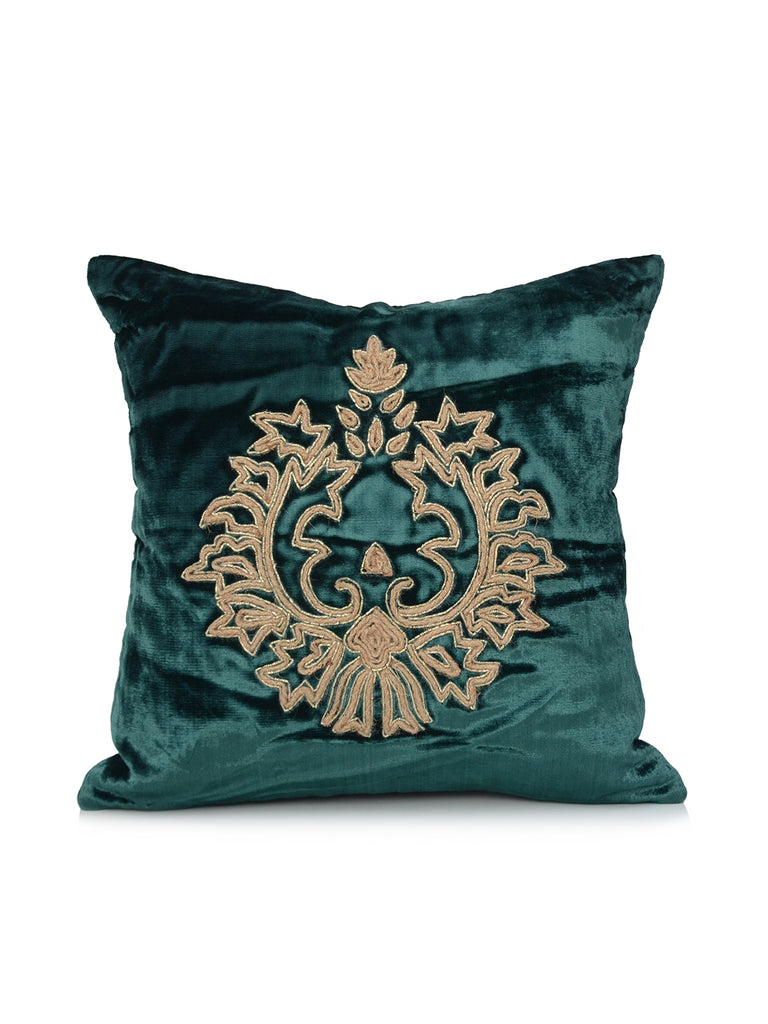 Golden Embroidery Velvet Cushion Cover(Green)