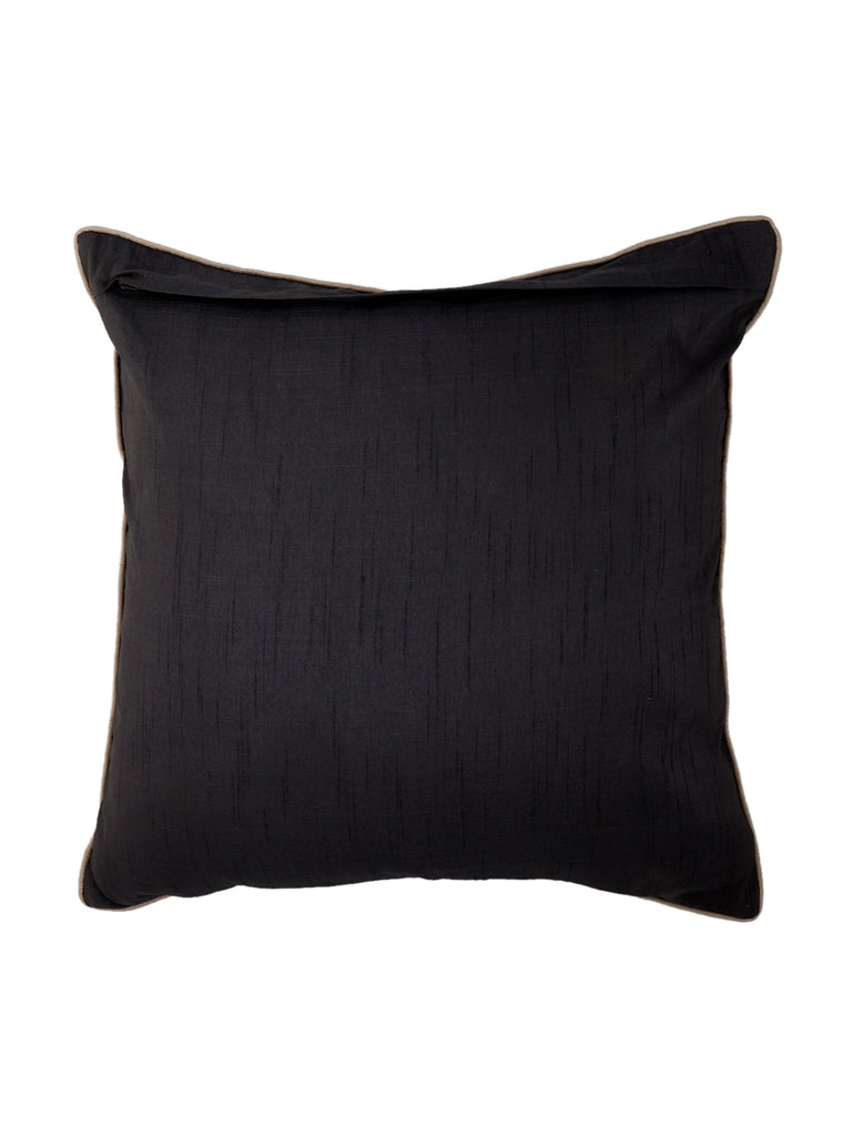 Stitched Quilt-Dupion Silk Cushion Cover(Grey- Black)