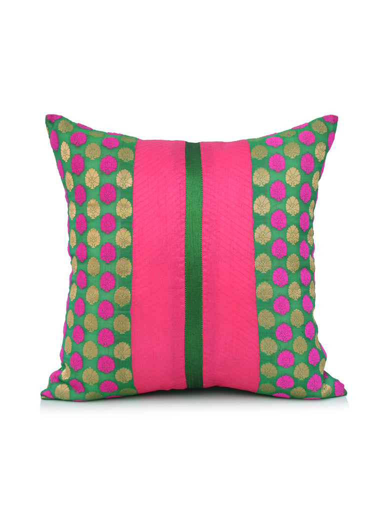 (Green/Pink)Brocade- Dupion Silk Cushion Cover