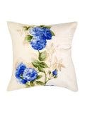 Blue Flower Printed Velvet Cushion Cover(White)