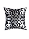 Silver Leather Cut Work- Cushion Cover(Black)