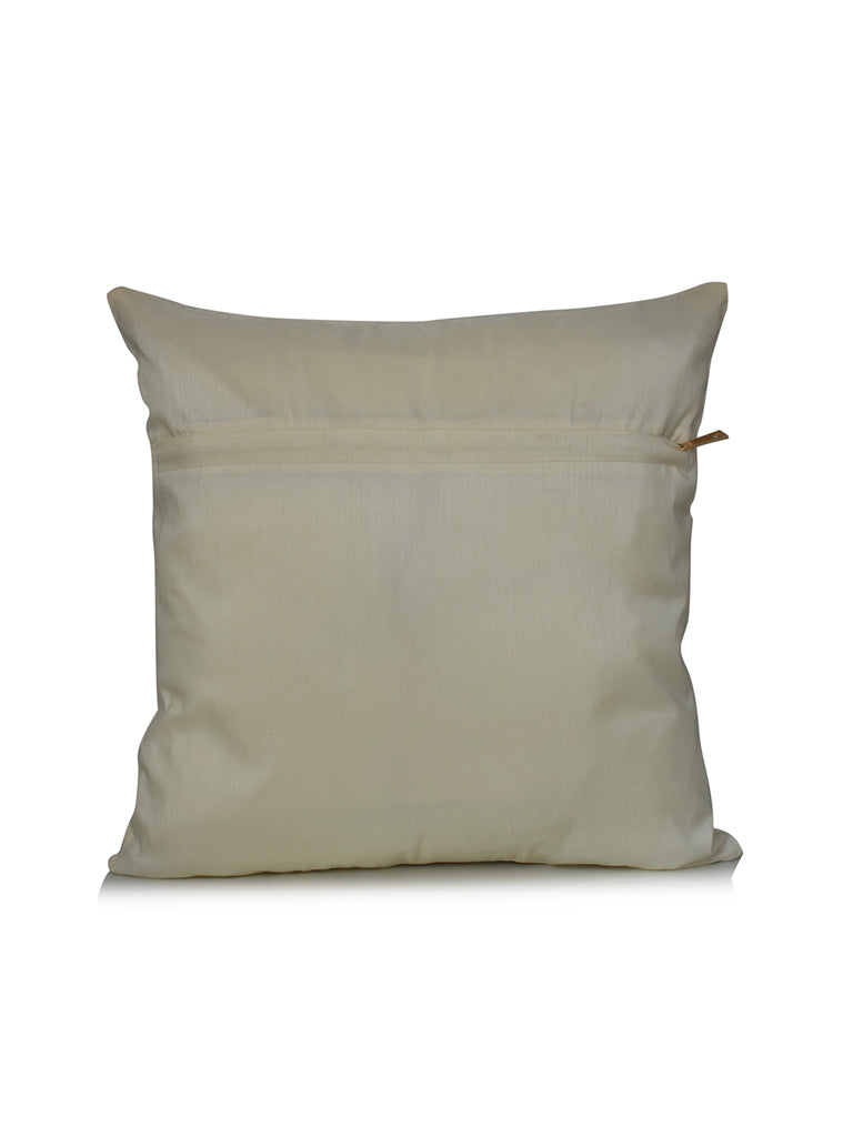 (Cream)Patch Work- Dupion Silk Cushion Cover