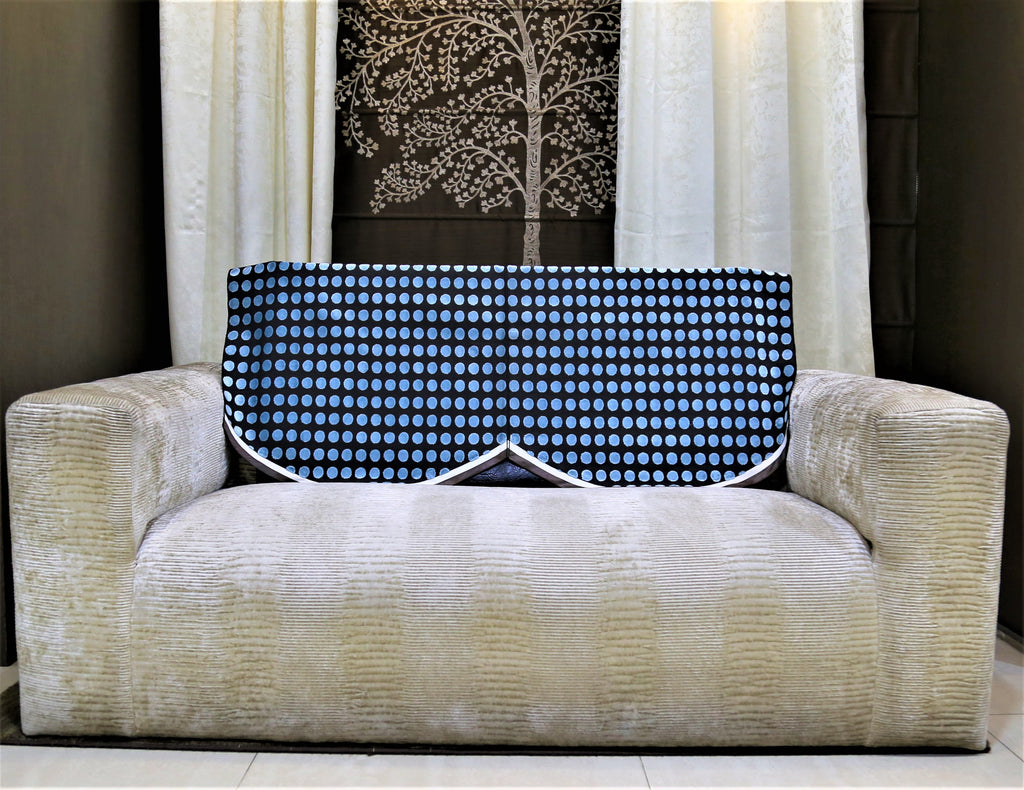 (Blue/Brown)Sofa Back Polka Dots Design -Chenille(23x25 Inch)