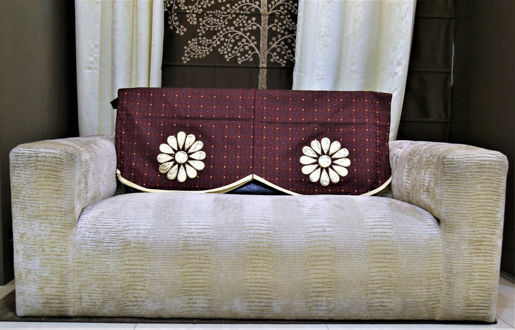 (Beige/Maroon)Sofa Back Patch Work Design -Polyester(23x25 Inch)