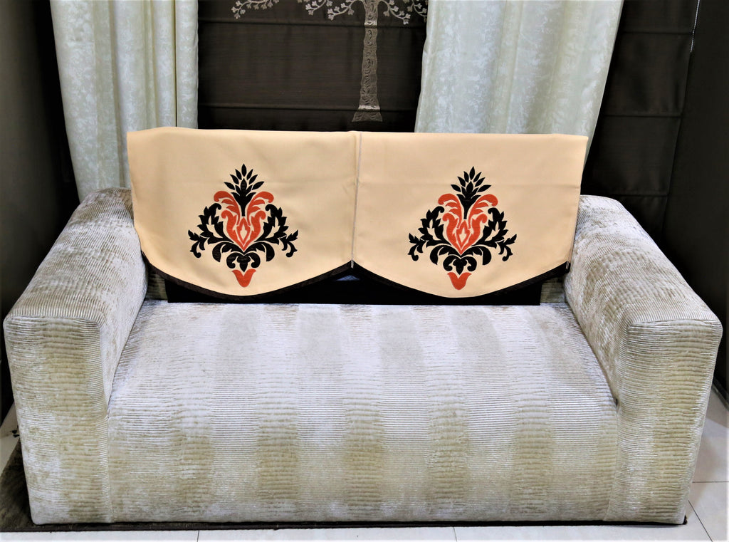 (Beige/Brown)Sofa Back Patch Work Design -Polyester(23x25 Inch)